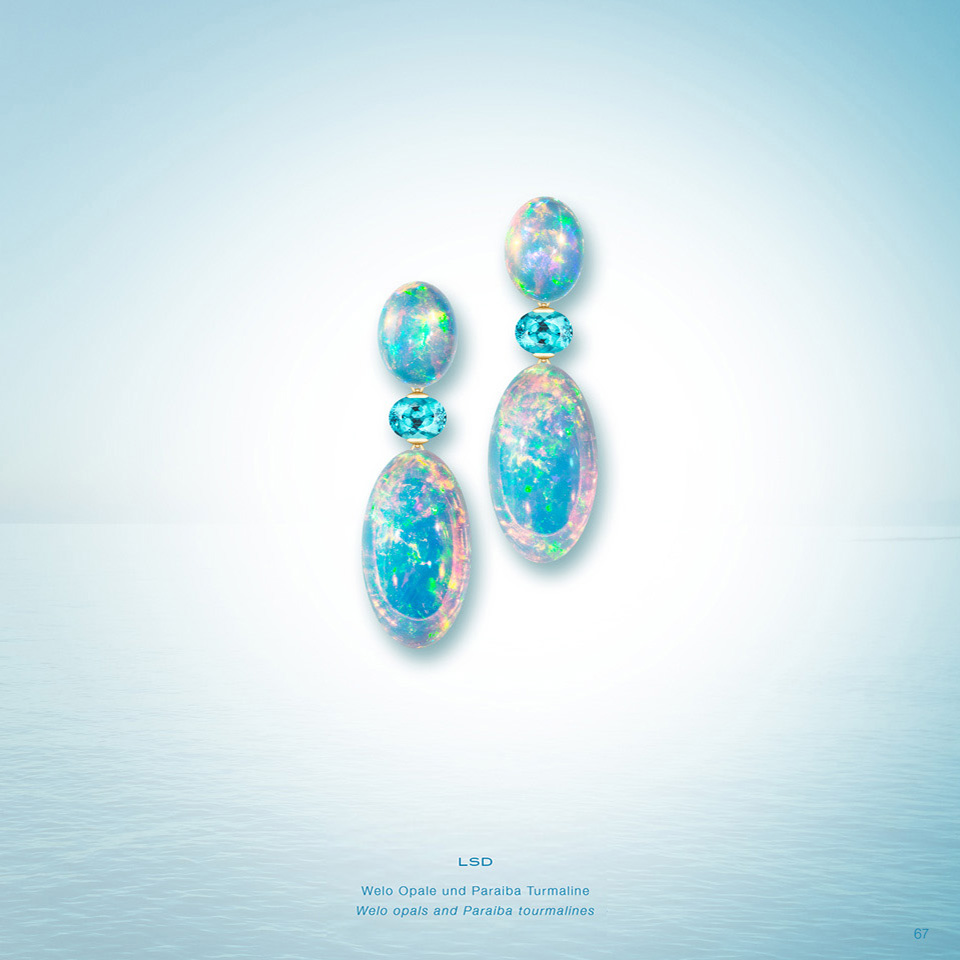 LSD Earrings LSD Welo Opal Earrings Africa Opal Paraiba Tourmaline Earring Brazil Paraiba Tourmaline 750/000 Yellow Gold Yellow Gold Earring Opal Tourmaline Gold Earring