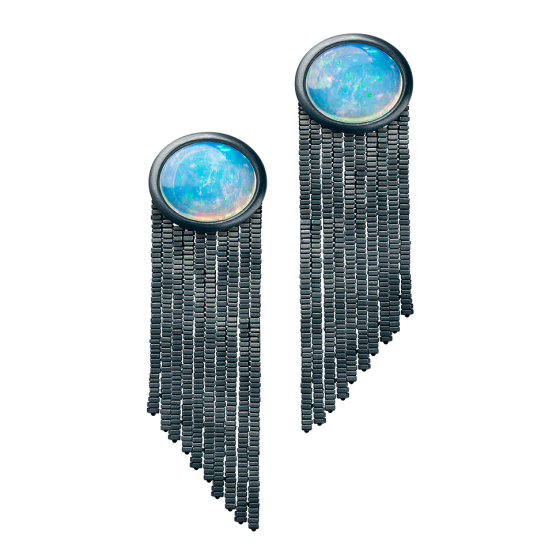 METALLICA Earrings Metallica-earrings with welo opal hematite plate silver bronze custom made opal-earrings hematite-earrings welo opal hematite-gold-earrings silver bronze-earrings bronze earrings
