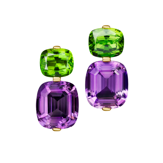 SUMMERDAY Earrings Thanksgiving amethyst amethyst earrings peridots peridot earrings 750/000 yellow gold gold earrings yellow gold earrings length 4.5 cm amethyst peridot earrings