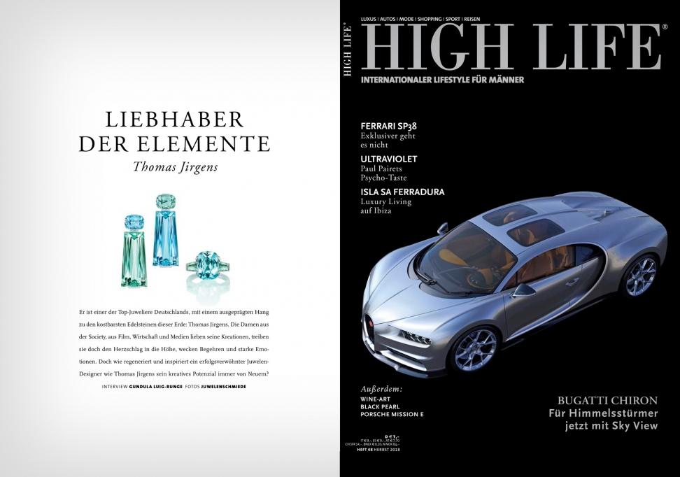 Presse Event der Juwelenschmiede THOMAS JIRGENS in der High Life Printmagazin Edelstein-Schmuck-Kolletion 2018 Kampagne Juwelen aus aller Welt exklusiv-Schmuck aus München
