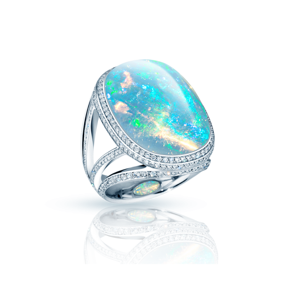 PROVENIENCE Ring Provenienz Welo Opal Cabochon 25 Carat White Diamonds 750/000 White Gold Ring Crafting Wedding Rings Personalized Gold Rings Silver Rings White Gold Ring