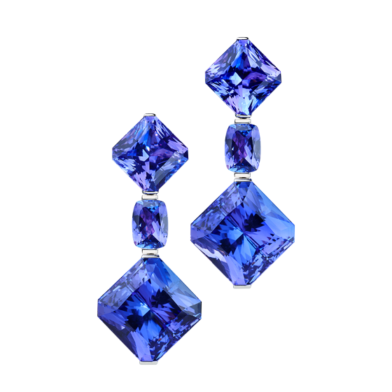 STARS OF AFRICA Three-piece earrings stars-of-Africa star-earrings with tanzanites tanzanite earrings 750/000 white gold white-gold-earrings gold-earring more-wearing-variation wearing options earring of tanzanite
