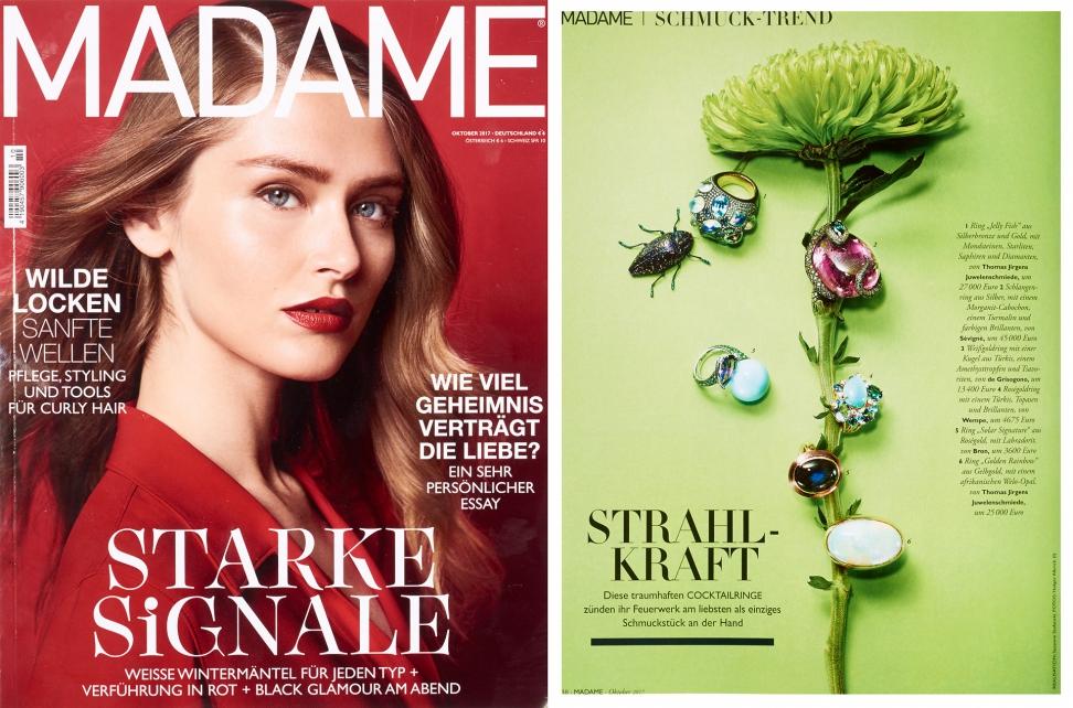 Werbekampagne Juwelenschmiede THOMAS JIRGENS Juwelier in der Madame Oktober 2017 Goldschmiede-Schmuck-Kreationen