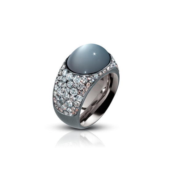 ICE Ring ice diamond-ring ice-ring with gray moonstone cabochon 14 carat gray diamonds moonstone diamond-ring diamond ring moonstone-ring silver bronze silver-rings silver bronze ring 750/000 white gold gold-ring white-gold-ring