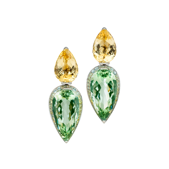 SUNLIGHT DROPS Earrings sunlight drops citrine-earrings citrines green prasiolite prasiolite-earrings sapphires sapphire-tube-rings 750 white gold white-gold-earrings gold-earrings citrine-sapphire-earring