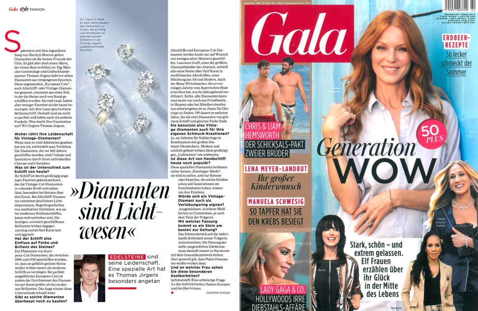Jewelsmiths print edition May 2020 in the gala with vintage diamonds collection presents Thomas Jirgens masterpieces of fine jewelry presentation of rare gemstones and jewels from Munich