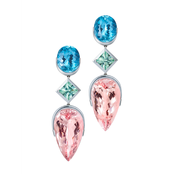 VENUS Earrings Venus Venus-Earring with Morganites Afghanistan Tourmalines Aquamarines Aquamarine-Earring Morgani-Earrings Tourmalino-Earrings 750/000 White-Gold White-Gold-Earrings Gold-Earrings