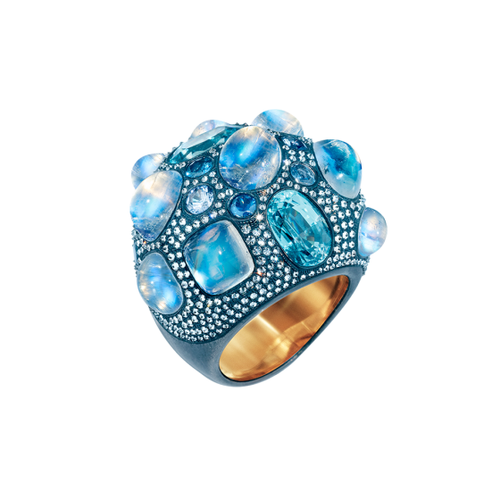 JELLYFISH Ring jellyfish rainbow moonstones 60 carat starlites blue sapphires gray diamonds silver bronze set 750/000 rose gold rose golden gold ring-e blue-ring