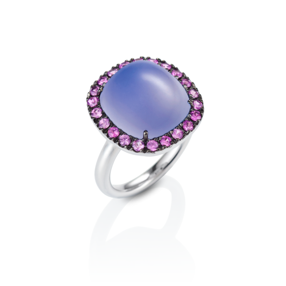 PINK SAPPHIRE SORBETTO Ring chalcedony-ring 10 carat sapphire-ring with antique oval chalcedony cabochon pink sapphires black rhodium plated 750 white-gold chalcedony-sapphire-ring white-gold-ring gold-rings wedding-rings engagement-rings munich