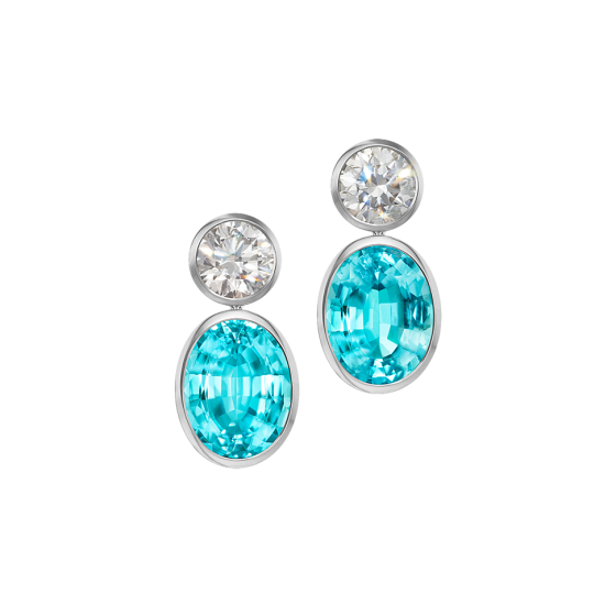 ABSOLUT PERFECTION Earrings Absolute-Perfection Brazilian Paraiba tourmalines bright white diamonds platinum length 2.5 cm Paraiba tourmaline earrings diamond earrings platinum earrings